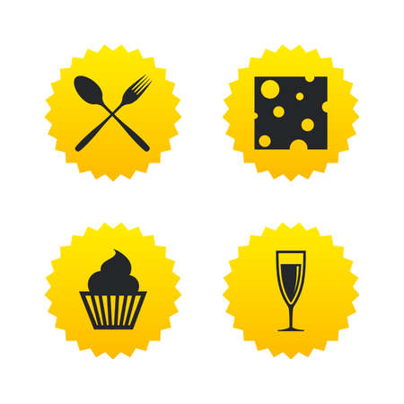 Food icons. Muffin cupcake symbol. Fork and spoon sign. Glass of champagne or wine. Slice of cheese. Yellow stars labels with flat icons. Vector