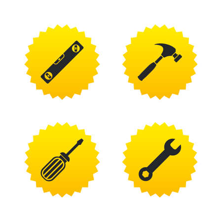 bubble level: Screwdriver and wrench key tool icons. Bubble level and hammer sign symbols. Yellow stars labels with flat icons. Vector