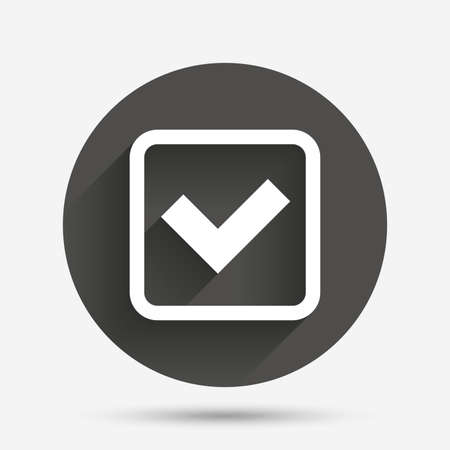 confirm: Check mark sign icon. Yes square symbol. Confirm approved. Circle flat button with shadow. Vector