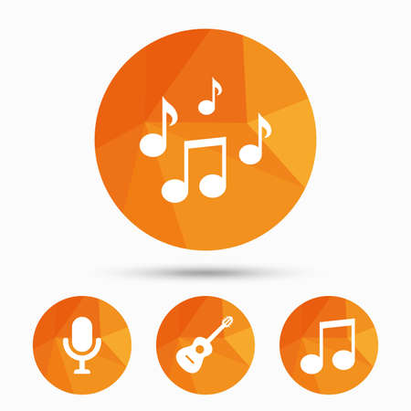 voices: Music icons. Microphone karaoke symbol. Music notes and acoustic guitar signs. Triangular low poly buttons with shadow. Vector