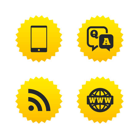 qa: Question answer icon.  Smartphone and Q&A chat speech bubble symbols. RSS feed and internet globe signs. Communication Yellow stars labels with flat icons. Vector