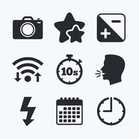 seconds: Photo camera icon. Flash light and exposure symbols. Stopwatch timer 10 seconds sign. Wifi internet, favorite stars, calendar and clock. Talking head. Vector