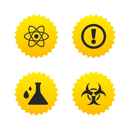 yellow attention: Attention and biohazard icons. Chemistry flask sign. Atom symbol. Yellow stars labels with flat icons. Vector