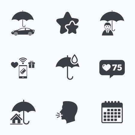 head protection: Life, Real estate or Home insurance icons. Umbrella with water drop symbol. Car protection sign. Flat talking head, calendar icons. Stars, like counter icons. Vector Illustration