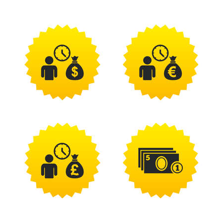 Bank loans icons. Cash money bag symbols. Borrow money sign. Get Dollar money fast. Yellow stars labels with flat icons. Vector Illustration