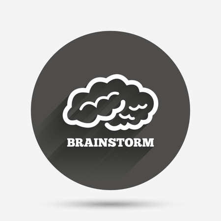 marrow: Brainstorm sign icon. Human think intelligent smart mind. Circle flat button with shadow. Vector Illustration