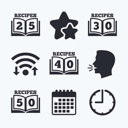favorite book: Cookbook icons. 25, 30, 40 and 50 recipes book sign symbols. Wifi internet, favorite stars, calendar and clock. Talking head. Vector