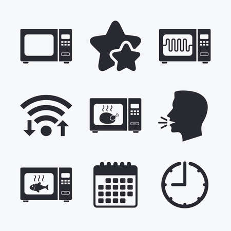microwave stove: Microwave oven icons. Cook in electric stove symbols. Grill chicken and fish signs. Wifi internet, favorite stars, calendar and clock. Talking head. Vector Illustration
