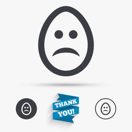 sadness: Sad Easter egg face sign icon. Sadness depression chat symbol. Flat icons. Buttons with icons. Thank you ribbon. Vector