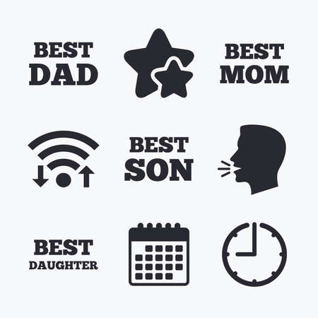dad son: Best mom and dad, son and daughter icons. Award symbols. Wifi internet, favorite stars, calendar and clock. Talking head. Vector Illustration