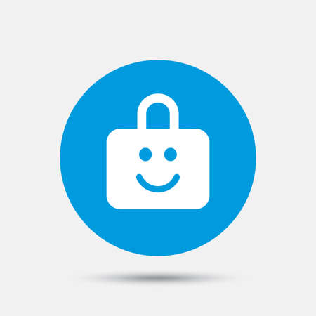 child protection: Child lock icon. Locker with smile symbol. Child protection. Blue circle button with icon. Vector Illustration