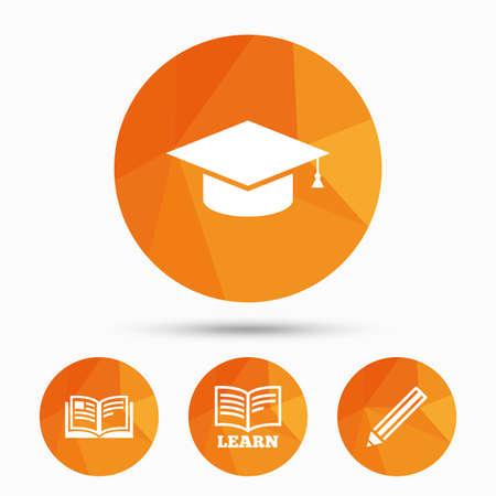marca libros: Lápiz y los iconos de libro abierto. símbolo de graduación de la tapa. La educación superior aprender signos. Triangulares botones de polietileno de baja con la sombra. Vector