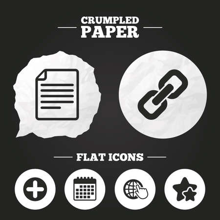 paper chain: Crumpled paper speech bubble. Plus add circle and hyperlink chain icons. Document file and globe with hand pointer sign symbols. Paper button. Vector