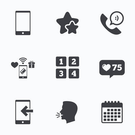 head support: Phone icons. Smartphone incoming call sign. Call center support symbol. Cellphone keyboard symbol. Flat talking head, calendar icons. Stars, like counter icons. Vector Illustration