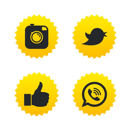 yellow photo: Hipster photo camera icon. Like and Call speech bubble sign. Bird symbol. Social media icons. Yellow stars labels with flat icons. Vector Illustration