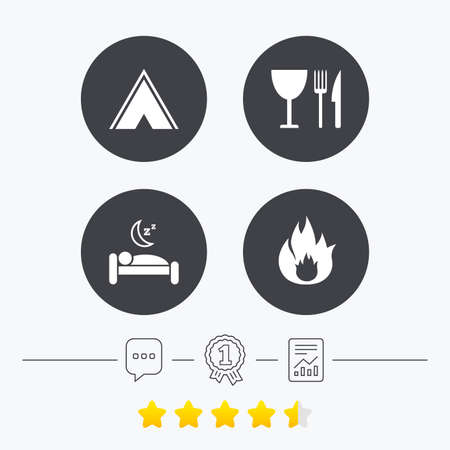 breakfast in bed: Food, sleep, camping tent and fire icons. Knife, fork and wineglass. Hotel or bed and breakfast. Road signs. Chat, award medal and report linear icons. Star vote ranking. Vector