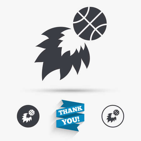 Basketball fireball sign icon. Sport symbol. Flat icons. Buttons with icons. Thank you ribbon. Vector