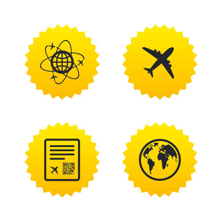 Airplane icons. World globe symbol. Boarding pass flight sign. Airport ticket with QR code. Yellow stars labels with flat icons. Vector