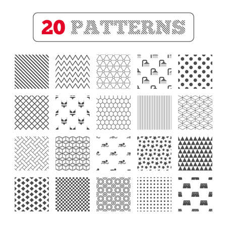 short wave: Ornament patterns, diagonal stripes and stars. Swimming pool icons. Shower water drops and swimwear symbols. Human swims in sea waves sign. Trunks and women underwear. Geometric textures. Vector