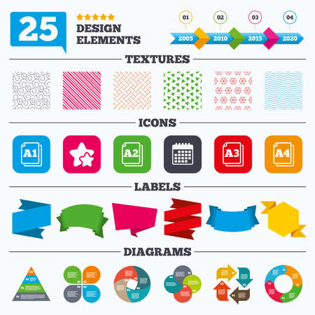 a3: Offer sale tags, textures and charts. Paper size standard icons. Document symbols. A1, A2, A3 and A4 page signs. Sale price tags. Vector