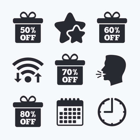 head tag: Sale gift box tag icons. Discount special offer symbols. 50%, 60%, 70% and 80% percent off signs. Wifi internet, favorite stars, calendar and clock. Talking head. Vector Illustration