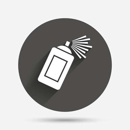 aerosol: Graffiti spray can sign icon. Aerosol paint symbol. Circle flat button with shadow. Vector