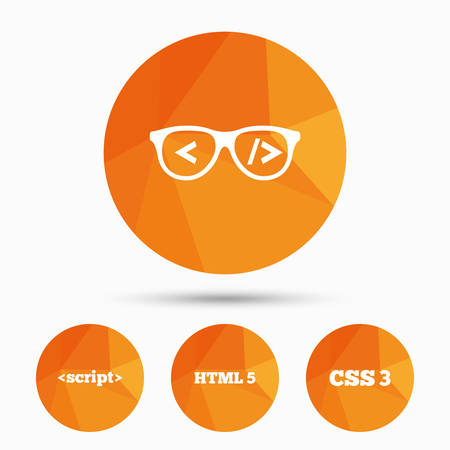 Programmer coder glasses icon. HTML5 markup language and CSS3 cascading style sheets sign symbols. Triangular low poly buttons with shadow. Vector