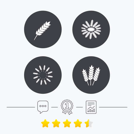 free vote: Agricultural icons. Gluten free or No gluten signs. Wreath of Wheat corn symbol. Chat, award medal and report linear icons. Star vote ranking. Vector