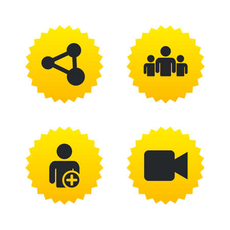 users video: Group of people and share icons. Add user and video camera symbols. Communication signs. Yellow stars labels with flat icons. Vector Illustration