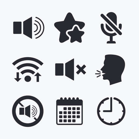 mute: Player control icons. Sound, microphone and mute speaker signs. No sound symbol. Wifi internet, favorite stars, calendar and clock. Talking head. Vector