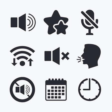 Spielersteuersymbole. Ton, Mikrofon und Lautsprecher Stumm Zeichen. Kein Ton Symbol. WiFi-Internetzugang, Lieblings-Stars, Kalender und Uhr. Im Gespräch Kopf. Vektor Vektorgrafik