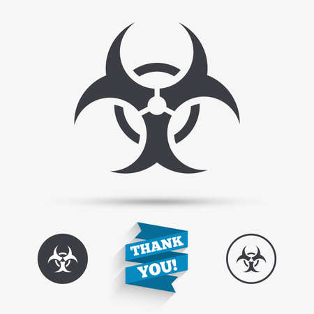 biohazard sign: Biohazard sign icon. Danger symbol. Flat icons. Buttons with icons. Thank you ribbon. Vector