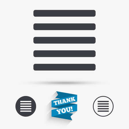the view option: List sign icon. Content view option symbol. Flat icons. Buttons with icons. Thank you ribbon. Vector Illustration