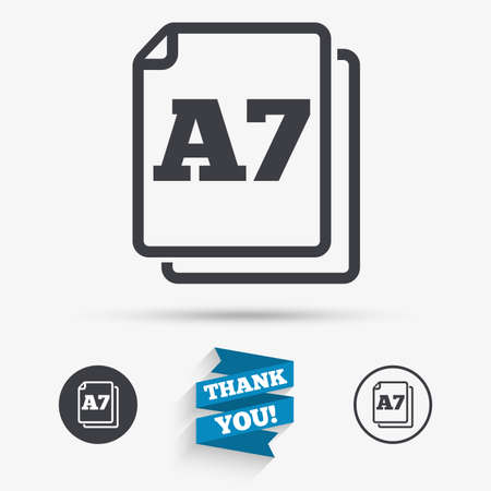 a7: Paper size A7 standard icon. File document symbol. Flat icons. Buttons with icons. Thank you ribbon. Vector
