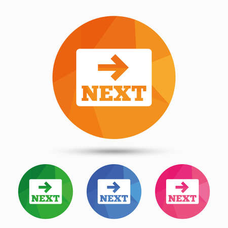 next button: Arrow sign icon. Next button. Navigation symbol. Triangular low poly button with flat icon. Vector
