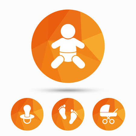 buggy: Baby infants icons. Toddler boy with diapers symbol. Buggy and dummy signs. Child pacifier and pram stroller. Child footprint step sign. Triangular low poly buttons with shadow. Vector
