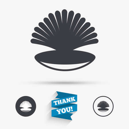 conch shell: Sea shell sign icon. Conch symbol. Travel icon. Flat icons. Buttons with icons. Thank you ribbon. Vector Illustration