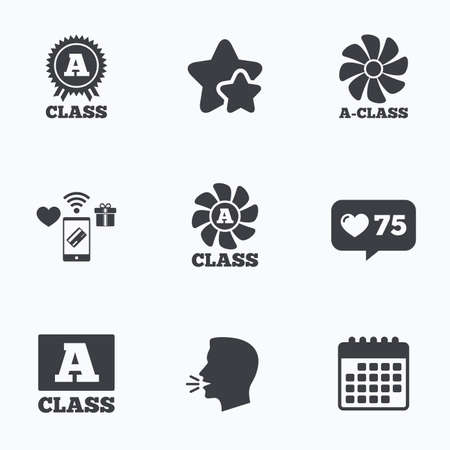economy class: A-class award icon. A-class ventilation sign. Premium level symbols. Flat talking head, calendar icons. Stars, like counter icons. Vector