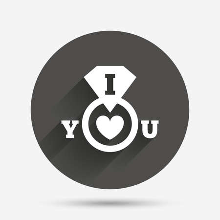i love you sign: I Love you sign icon. Valentines day symbol. Circle flat button with shadow. Vector