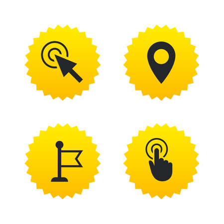 Mouse cursor icon. Hand or Flag pointer symbols. Map location marker sign. Yellow stars labels with flat icons. Vector