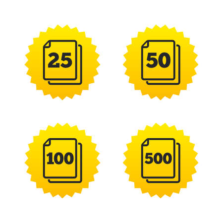units: In pack sheets icons. Quantity per package symbols. 25, 50, 100 and 500 paper units in the pack signs. Yellow stars labels with flat icons. Vector Illustration