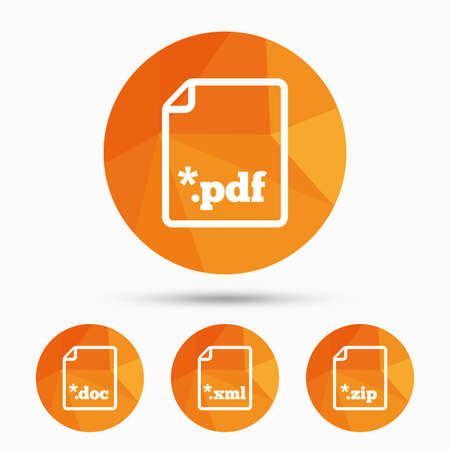 Download document icons. File extensions symbols. PDF, ZIP zipped, XML and DOC signs. Triangular low poly buttons with shadow. Vector