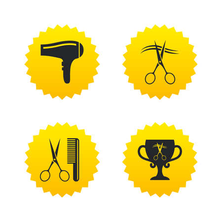 blow drying: Hairdresser icons. Scissors cut hair symbol. Comb hair with hairdryer symbol. Barbershop winner award cup. Yellow stars labels with flat icons. Vector Illustration