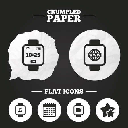 www arm: Crumpled paper speech bubble. Smart watch icons. Wrist digital time watch symbols. Music, Video, Globe internet and wi-fi signs. Paper button. Vector