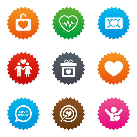 oath: Love, valentine day icons. Target with heart, oath letter and locker symbols. Couple lovers, heartbeat signs. Stars label button with flat icons. Vector