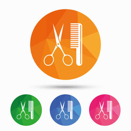 comb hair: Comb hair with scissors sign icon. Barber symbol. Triangular low poly button with flat icon. Vector