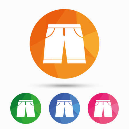 Mens Bermuda shorts sign icon. Clothing symbol. Triangular low poly button with flat icon. Vector