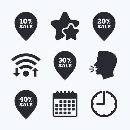 head tag: Sale pointer tag icons. Discount special offer symbols. 10%, 20%, 30% and 40% percent sale signs. Wifi internet, favorite stars, calendar and clock. Talking head. Vector