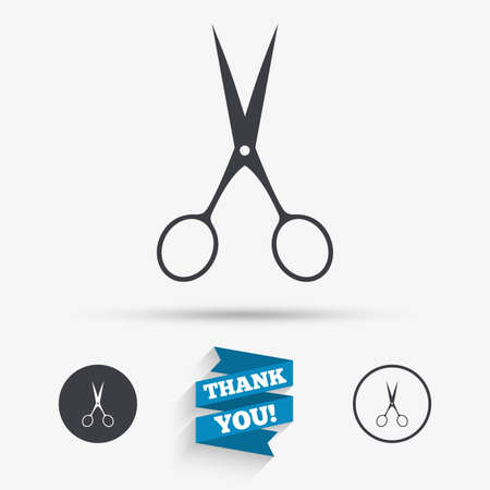 Scissors hairdresser sign icon. Tailor symbol. Flat icons. Buttons with icons. Thank you ribbon. Vector