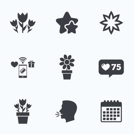 camomiles macro: Flowers icons. Bouquet of roses symbol. Flower with petals and leaves in a pot. Flat talking head, calendar icons. Stars, like counter icons. Vector Illustration